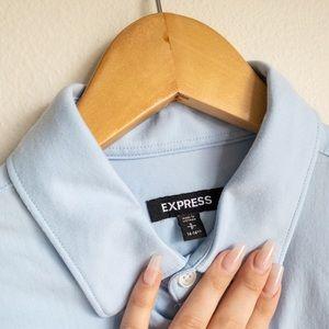 Express Men's/Unisex Light Blue Button-down Shirt